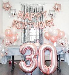 30th Birthday Balloons, 30th Birthday Cake Topper, 30th Birthday Decorations, Birthday Roses, Happy 30th Birthday, 30th Birthday Parties, 30 Cake Topper, Gold Confetti Balloons, Birthdays