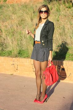 fall outfits womens fashion clothes style apparel clothing closet ideas black blazer red handbag heels short skirt sunglasses
