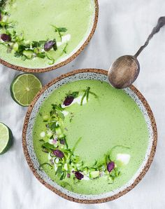 Cucumber Gazpacho with Yogurt & Cilantro. Cold Soup and Gazpacho Recipes for Summer To Cool You Down. When temperatures go up, it's time to make your vitamix! Healthy Spring Recipes, Summer Recipes, Healthy Summer, Cucumber Gazpacho, Cucumber Soup Cold, Green Gazpacho Recipe, Watermelon Soup, Gazpacho Soup, Creamed Cucumbers