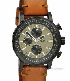 FOSSIL Mens Chronograph Watch 1/10th Sec. Black Ion w/ Brown Calf Leather Band