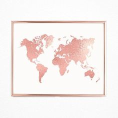 Room decor rose gold world map, Printable cute office decorations, Pink girly wall decor instant dow Modern Bedroom Decor, Diy Room Decor, Wall Decor, Gold World Map, Vintage World Maps, Rose Gold Interior, Cute Office, Gold Office, World Map Printable