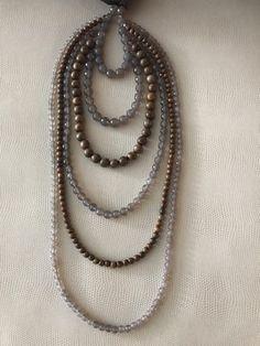 Brunello Cucinelli Multi Strand Beaded Gray Ribbon Necklace #BrunelloCucinelli #StrandString