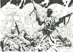 """Some years back I red a comic book """"Light brigade"""", and Peter Snejberg's black and white artwork was really inspiring. I took two different pictures fro. Black And White Artwork, A Comics, Scribble, Comic Books, Deviantart, Drawings, Pictures, Photos, Doodles"""