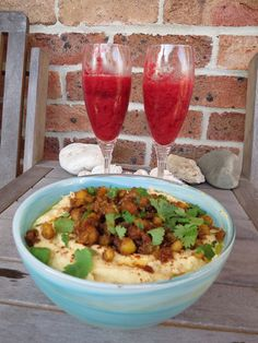 Watermelon, Raspberry and Coconut Liqueur Granita AND Hummus with Spiced Crispy Chickpeas.                           Issue 72 Dec/Jan 2013/14