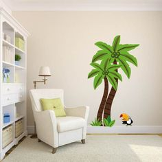 childrens removable vinyl wall decal  Tropical palm tree with parrot bird great for any nursery kids room or playroom. $75.00, via Etsy.