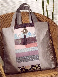 Sewing - Scrap Project Patterns - Oh! Sewing Patterns Free, Bag Patterns, Free Sewing, Sewing Ideas, Old Ties, Japanese Bags, Japanese Style, Patchwork Bags, Fabric Bags