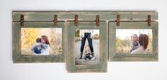 """This collage frame is made from (3) 5x7-- 2"""" barnwood frames connected to a barnwood header with rusty brackets. It hangs 2 5x7 rustic frames horizontal and 1 5"""