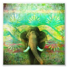 Pretty Bohemian Elephant Turquoise Tribal Pattern Photo Print -#elephant #elephants #elephantlove #poster #posters #animals #zoo