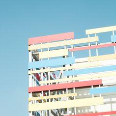 Matthieu Venot cherche des éléments colorés dans l'architecture et le paysage urbain de la ville de Brest pour réaliser ces images graphiques de détails architecturaux
