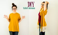 Sew T-Shirt DIY Kimono From a T-Shirt (No-Sew Option) More - This easy fashion tutorial for making a DIY kimono from a t-shirt will give you a new clothing piece for your wardrobe in under an hour, and on the cheap! Kimono Diy, Kimono Shirt, T-shirt Refashion, Diy Clothes Refashion, Refashioning Clothes, How To Refashion A Tshirt, Thrift Store Refashion, Diy Clothes Tutorial, Refashioned Clothing