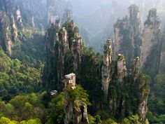 Sandstone pillars, Zhangjiajie National Forest Park, Hunan Province, China Wulingyuan Scenic Area in China