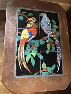 Rare-vintage-california-tile-table-1930-Valentino-Pheasants Tile Tables, Vintage California, Dark Stains, Pheasant, Burnt Orange, Valentino, Spanish, Shapes, Painting