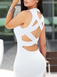 Criss Cross Bandage Back Bodycon Dress Trend Fashion, Fashion Outfits, Women's Fashion, Criss Cross, Hot Dress, Womens Fashion Online, Plus Size Dresses, Athletic Tank Tops, Sexy