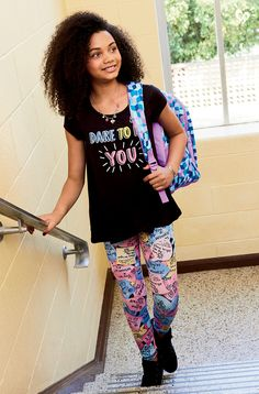 Step into glam & comfort with girls' leggings from Justice. Find bold prints, patterns & solid basics in our girls' capri-length & ankle-length leggings. Fleece Leggings, Girls Leggings, Printed Leggings, New Outfits, Girl Outfits, Cute Outfits, Justice Shorts, Justice Outfits, Tween Fashion