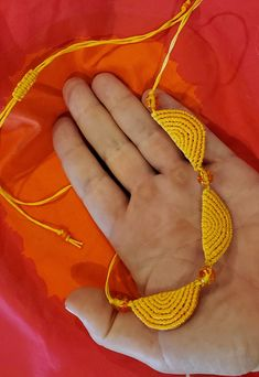 Sunny micromacrame necklace yellow half circles with yellow/orange beads, adjustable length