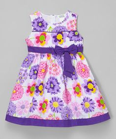 Loving this Purple & Pink Floral Sleeveless Dress - Toddler & Girls on #zulily! #zulilyfinds