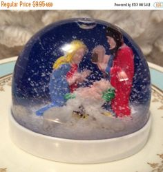 Image for childhood, The plastic Snow globe Creche. Snow Globes For Sale, Christmas Snow Globes, Christmas Past, Vintage Christmas, Christmas Collage, Christmas Nativity, Xmas, Vintage Theme, Vintage Toys