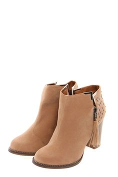 Adalynn Tan Suedette Studded Back Ankle Boot    www.boohoo.com