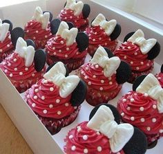 Minnie Mouse Cupcakes--but in pink