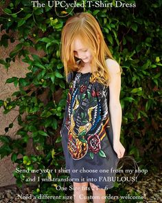 Awesome idea for a designer - send them your old concert T's and they will make a dress out of it for your little girl