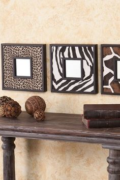 Animal Print Decorative Mirror - Set of 3
