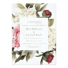 English Bouquet Wedding Invitation