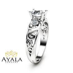 Forever Brilliant Moissanite Engagement Ring Filigree 14K White Gold Engagement Ring Unique Design Moissanite Ring Art Deco Styled Band