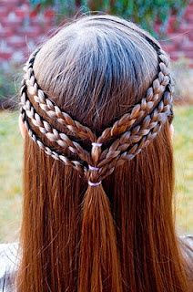 triple skinny braids - thou shalt not cut thy hair, except for dead ends, so that it shall grow lovely and long and healthily.