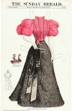 Бумажные куклы, ретро Вечернее платье-1895
