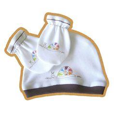 Designer baby SET  Baby Hat  mittens mits 'snail' by rockbabies, $5.99