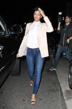 Rihanna - blue jeans and a blazer