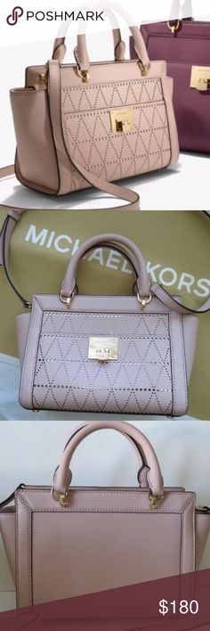 """NWT MICHAEL KORS TINA BALLET PINK MESSENGER BAG Double leather handles  Can be worn two ways; double handle satchel or single Cross body strap  Silver plated hardware  Michael Kors embossed hardware  Michael Kors signature interior lining  Interior zip pocket and 2 open pockets  Zip top closure  10"""" (top) x 7.5"""" x 4""""  100% authentic  No dust bag   📌 No trades Michael Kors Bags Crossbody Bags"""