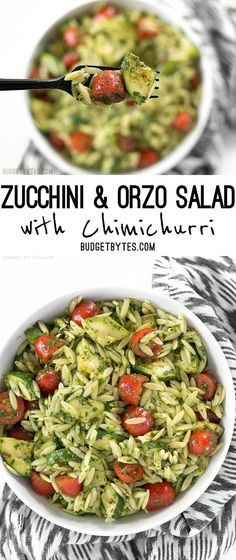Zucchini and Orzo Salad with Chimichurri is a fresh summer salad that makes the perfect side for summer grilling. @budgetbytes