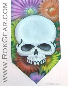 RokGear Airbrushed one of a kind Skulls and Daisies. This design can be reproduced in different colors, being an airbrushed design it will never be reproduced exactly the same making every one produced a one of a kind.