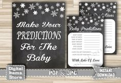 Baby Shower Prediction Card and Sign with Snowflakes Chalkboard - Winter Chalkboard Baby Prediction Printable - Instant Download - ch2 by DigitalitemsShop on Etsy