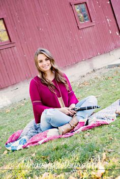 Senior Picture. Clarinet. Red Barn. Early Fall. Quilts.