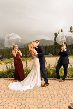 First kiss during a outdoor wedding ceremony at TenMile Station a Breckenridge wedding venue. To see more from this mountain wedding in Breckenridge check out the rest of the blog post! Breckenridge Resort, Rain Photography, Colorado Wedding Venues, Wedding Ceremony, Kiss, Mountain, Weddings, Check, Blog