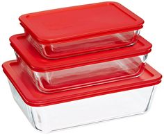 Pyrex Bakeware/Cookware Set with Red Plastic Covers 6 Piece, 3 Lids and 3 Boxes *** Click image for more details.