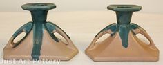 Roseville Pottery Carnelian I Pink and Blue Candle Holders 1064 from Just Art Pottery