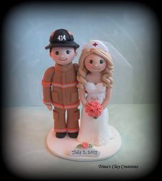 Firefighter and Nurse Wedding Cake Topper by Trina's Clay Creations