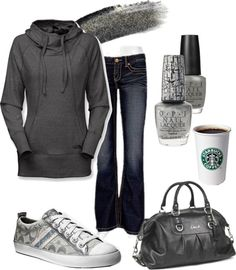 """Grey Chic for a day of errands, that hoddie looks so comfy!"" by chelseawate ❤ liked on Polyvore"