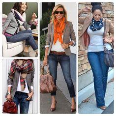 Blazer, jeans e lenço é uma combinação infalível e perfeita para o #casualfriday - além de ser atemporal e perfeita para todas as idades! Boa sexta-feira para todas ! #advoguettes #executivas #workoutfit #lookdetrabalho #instafashion #advoguettesdaadica