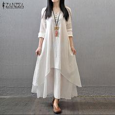 Повседневное одноцветное осеннее платье 2018 Для женщин элегантные свободные длинный рукав V Средства ухода за кожей Шеи Платье Бохо длинное платье vestidos плюс Размеры более размеры d