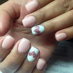 pale pink nails with a glitter heart design ~  we ❤ this! moncheribridals.com