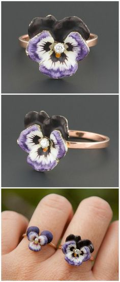 A rose gold ring made from a converted antique pin. The flower is a purple enamel pansy with a diamond center.
