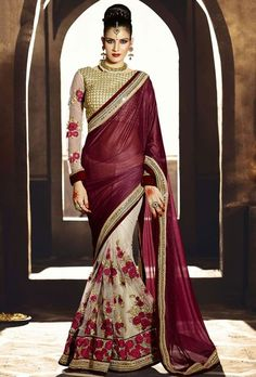 Appealing Off White and Burgundy Saree http://ethanica.myshopify.com/products/appealing-off-white-and-burgundy-saree #Offer #sarees #designersarees