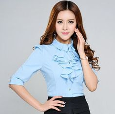 9797b51d60b5 2015 summer women s ruffle chiffon shirt plus size blouse for women work  wear formal Elegant clothing tops white blue rose S-3XL