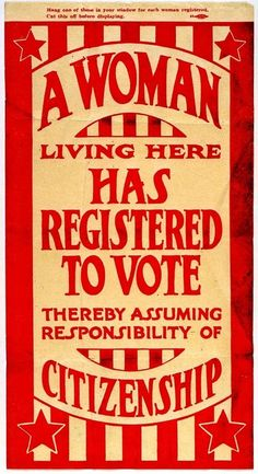 """""""A Woman Living Here Has Registered to Vote"""" - c. 1920 Suffrage Flyer MHS Collections : Missouri History Museum (mohistory) --- pp: Never take that vote for granted! Know the REAL issues! Missouri, Vintage Ads, Vintage Posters, Vintage Ephemera, Vintage Food, Retro Ads, Vintage Clip, Vintage Labels, Vintage Stuff"""