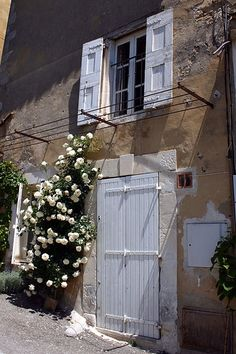 White Door With Roses -     Menerbes, France