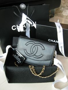 yes pleaseee!:) CHANEL Timeless Classic Black Caviar Wallet On Chain WOC Crossbody Clutch Purse #CHANEL